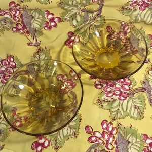 Two Vintage 🌲🎄Relish/Snack Dishes in Amber Glass